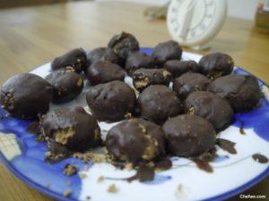 Peanut Cookies coated with chocolate